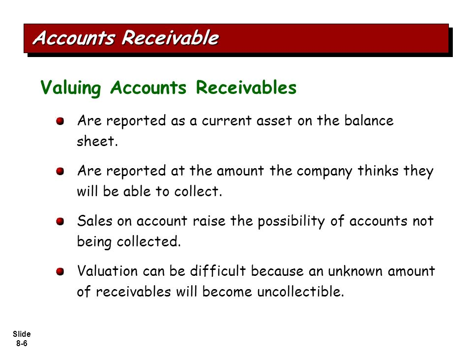 accounts receivable are reported at