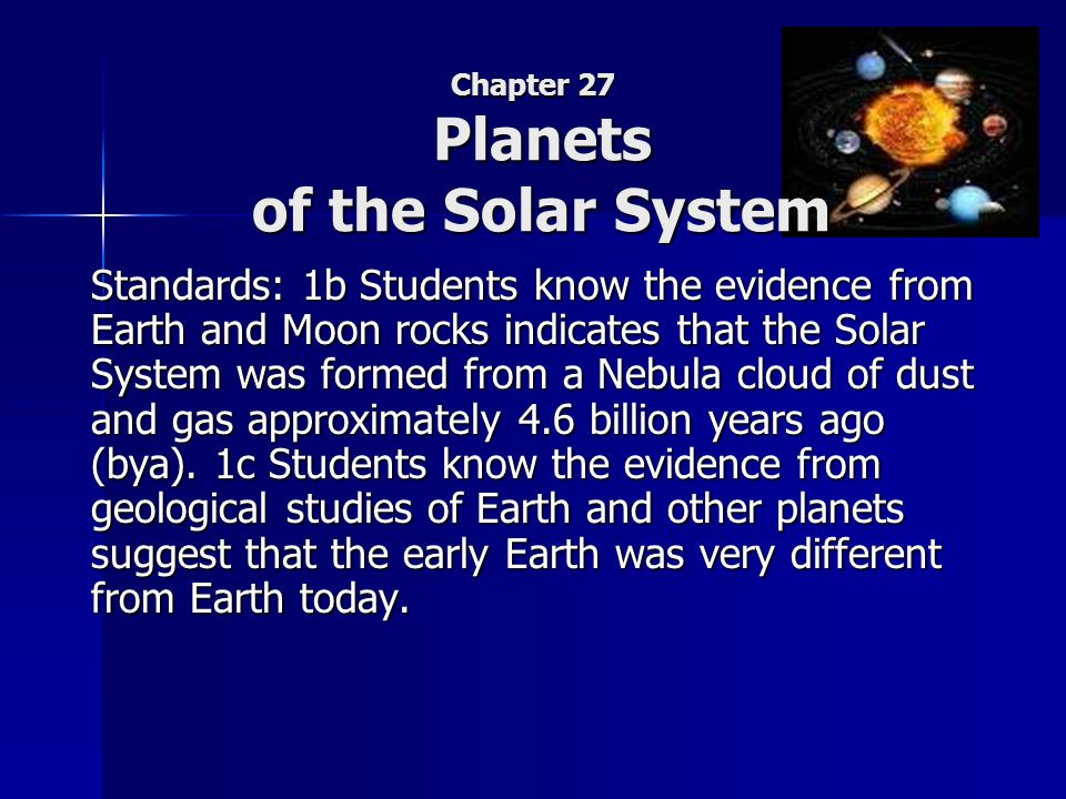chapter 27 planets of the solar system ppt download