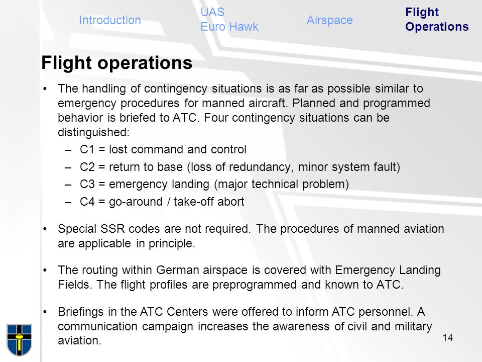 Flight operations UAS Euro Hawk Flight Operations Introduction