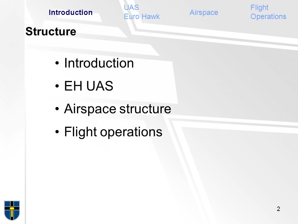Introduction EH UAS Airspace structure Flight operations Structure