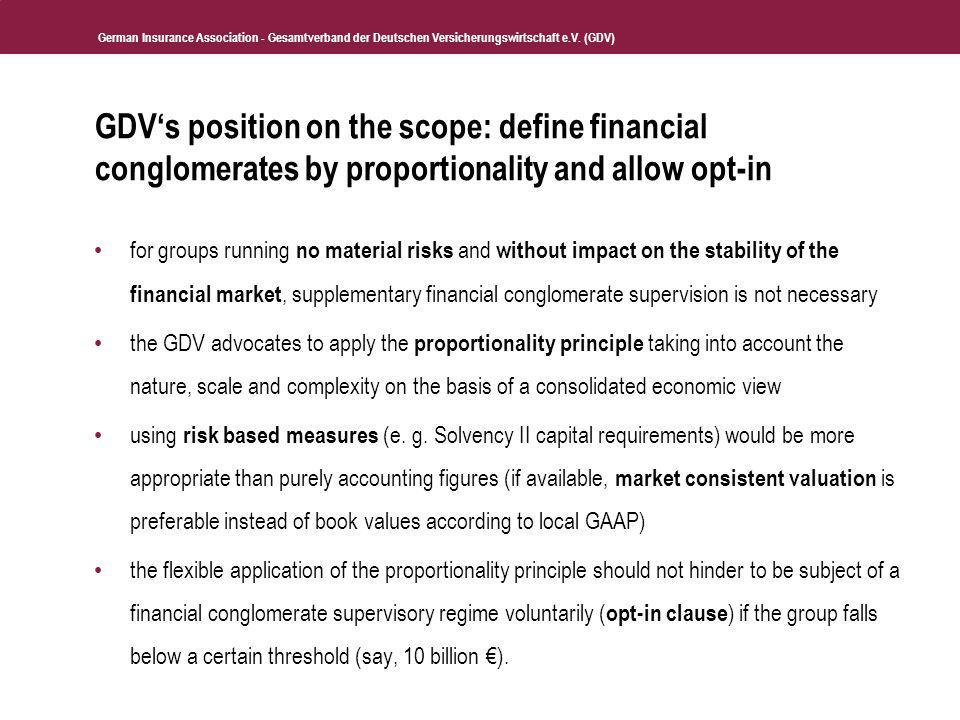 GDV's position on the scope: define financial conglomerates by proportionality and allow opt-in