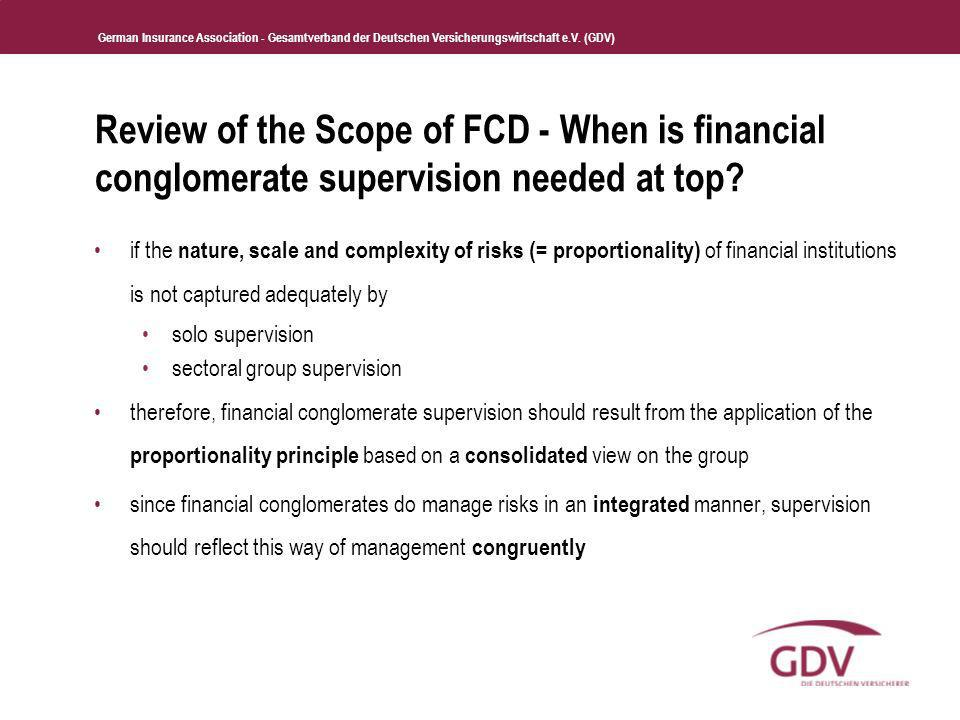Review of the Scope of FCD - When is financial conglomerate supervision needed at top