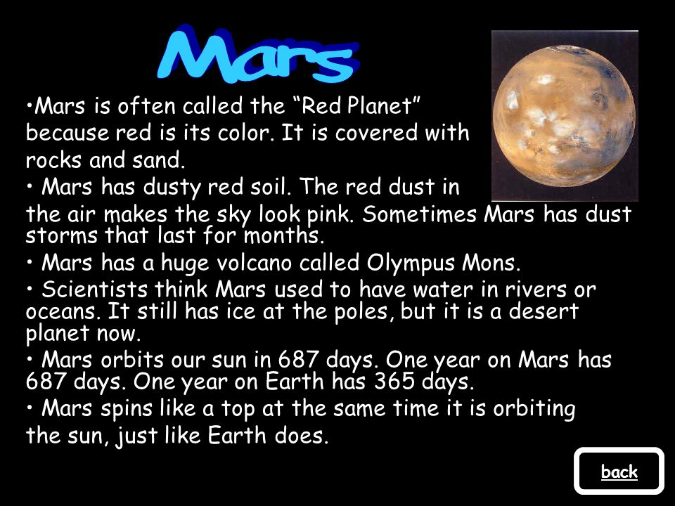 Mars Mars is often called the Red Planet