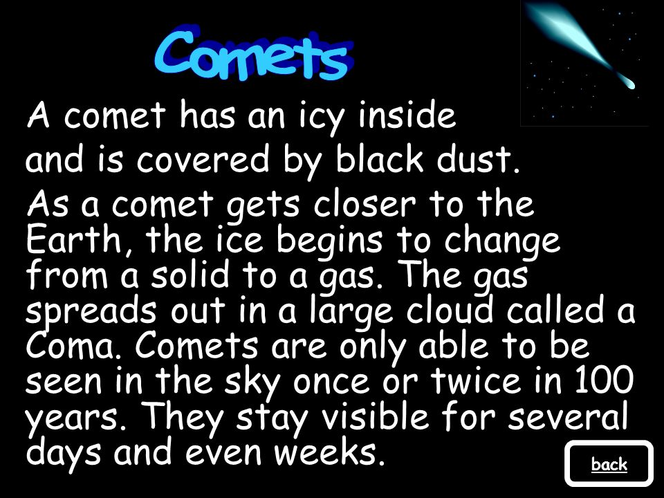A comet has an icy inside and is covered by black dust.