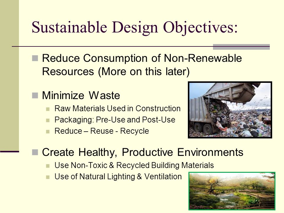 Sustainable Design Objectives: