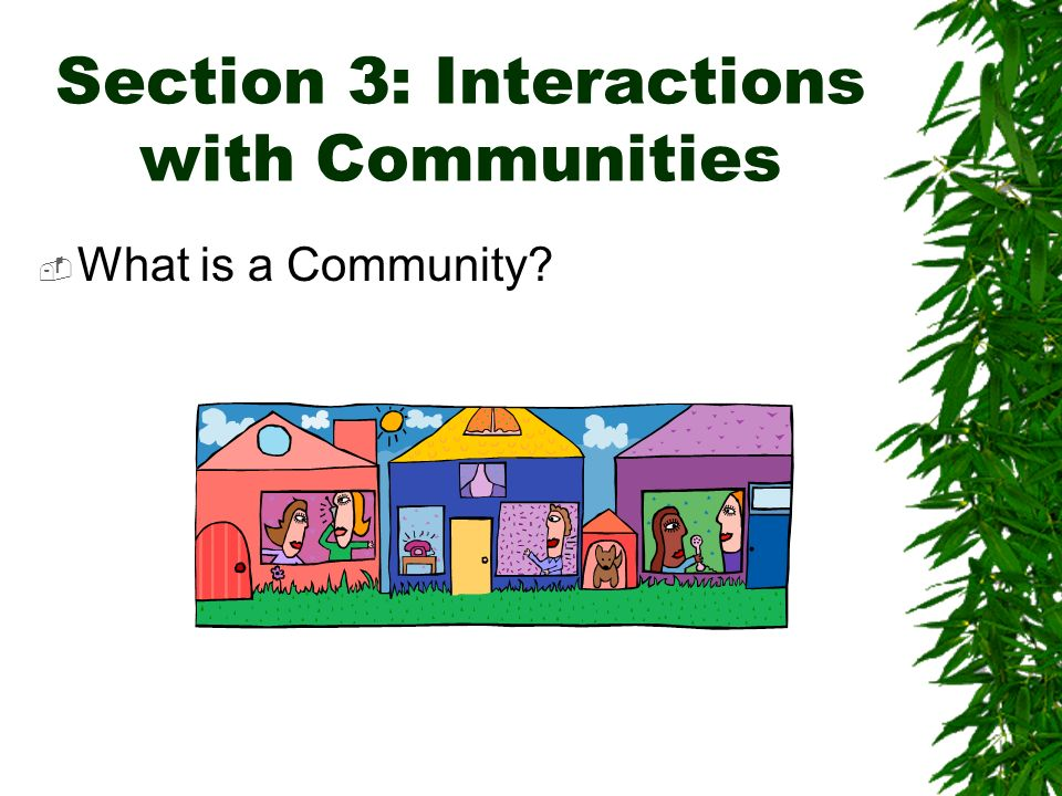 Section 3: Interactions with Communities