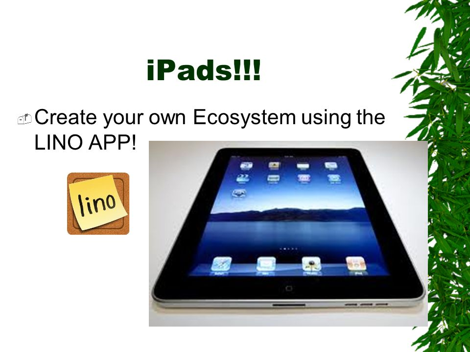 iPads!!! Create your own Ecosystem using the LINO APP!