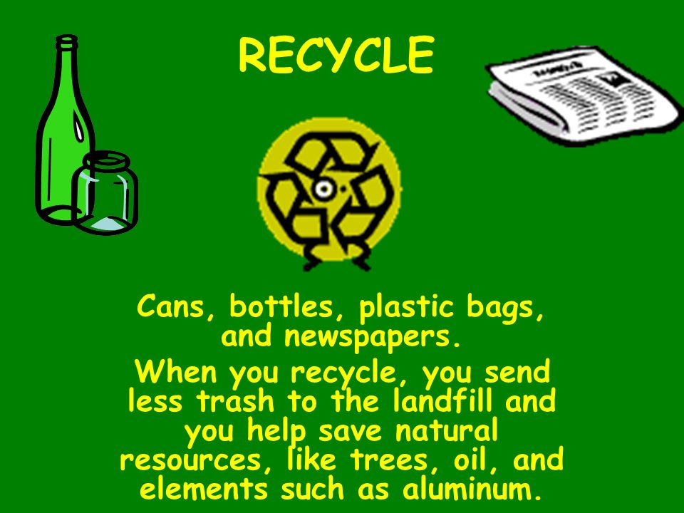 Cans, bottles, plastic bags, and newspapers.