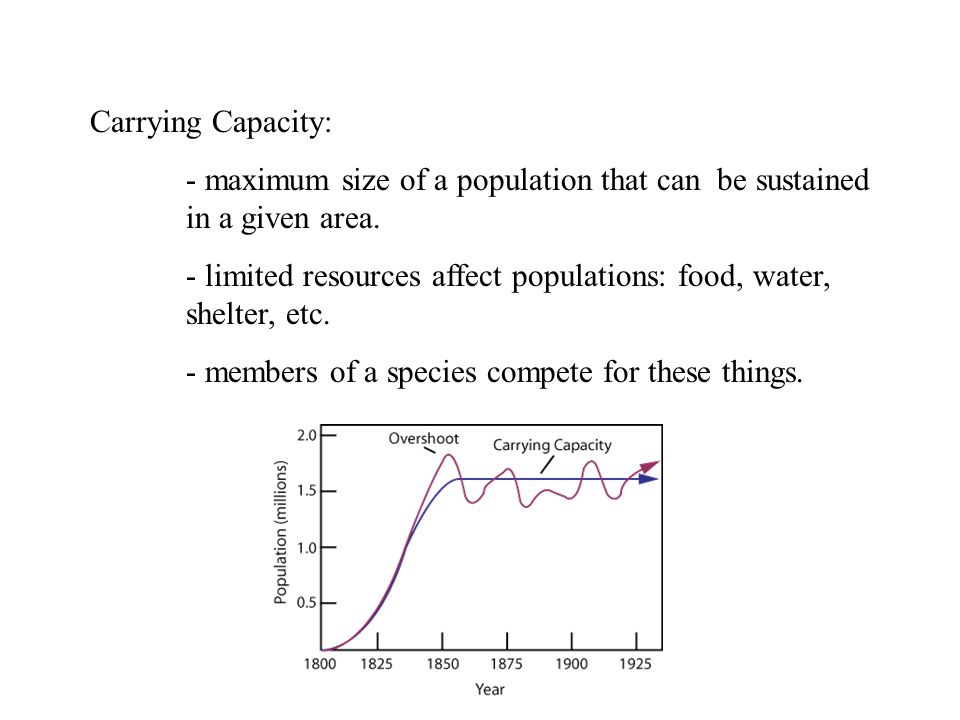 Carrying Capacity: - maximum size of a population that can be sustained in a given area.