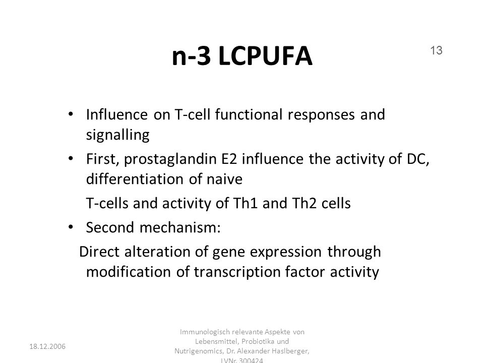 n-3 LCPUFA Influence on T-cell functional responses and signalling