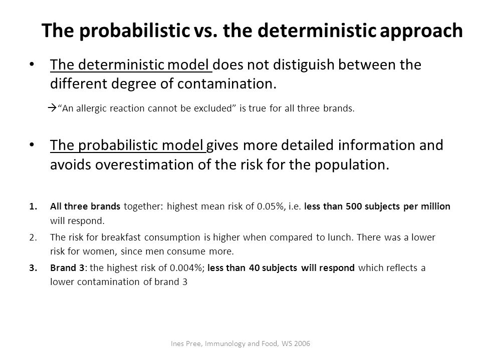 The probabilistic vs. the deterministic approach