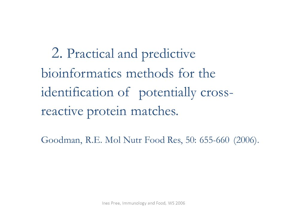 Ines Pree, Immunology and Food, WS 2006