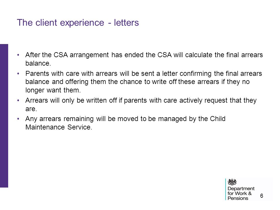 Changes for clients with child support agency cases ppt video the client experience letters altavistaventures Images