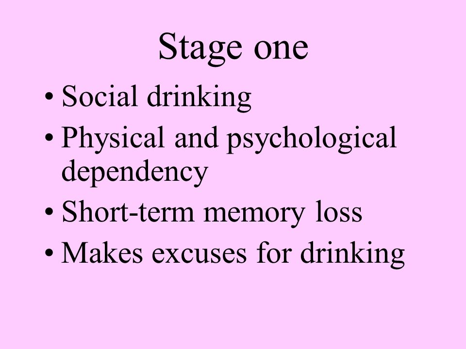 Stage one Social drinking Physical and psychological dependency
