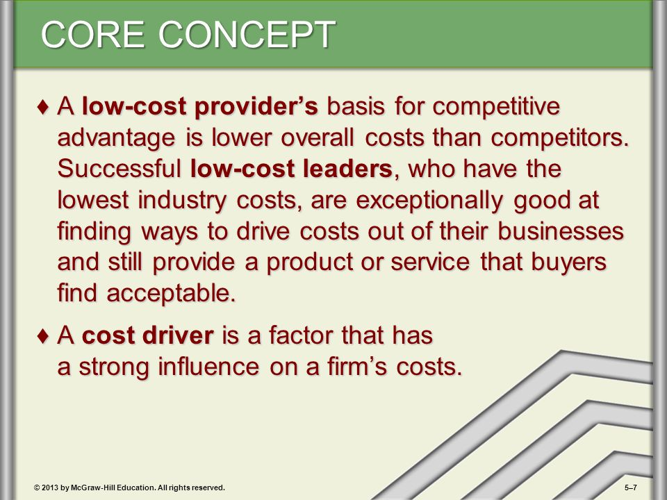 a low cost leaders basis for competitive advantage is