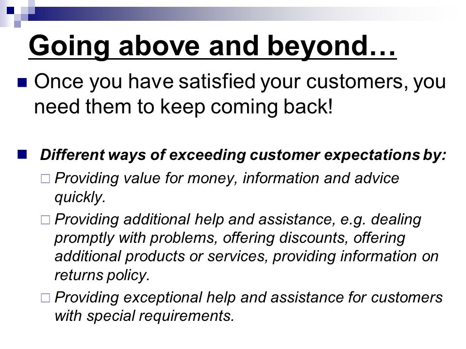 offering information and advice customer service