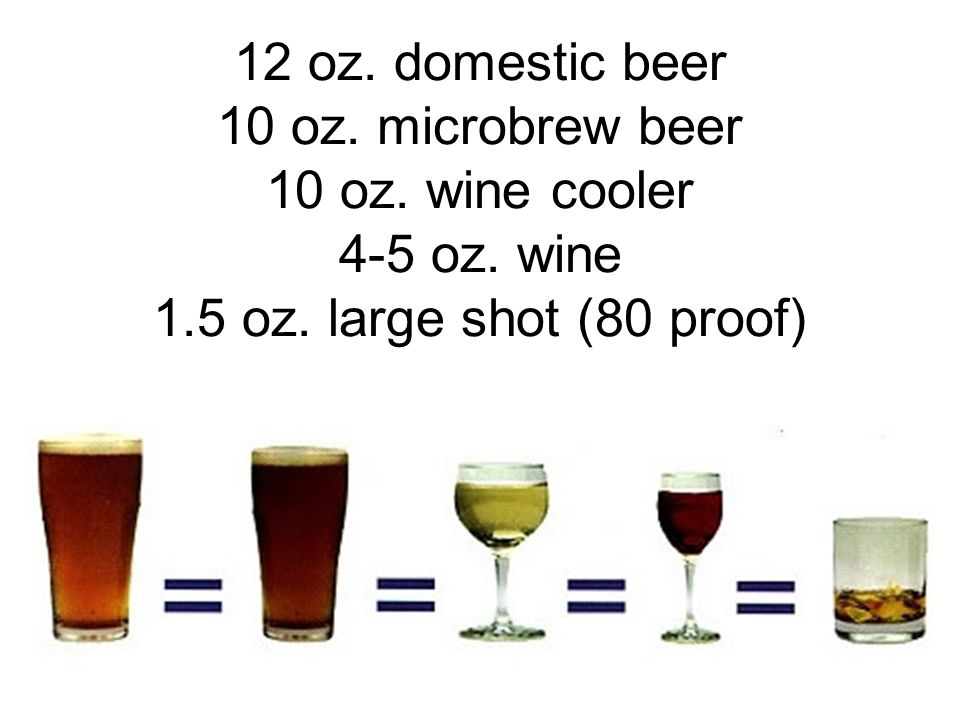 12 oz. domestic beer 10 oz. microbrew beer 10 oz. wine cooler 4-5 oz