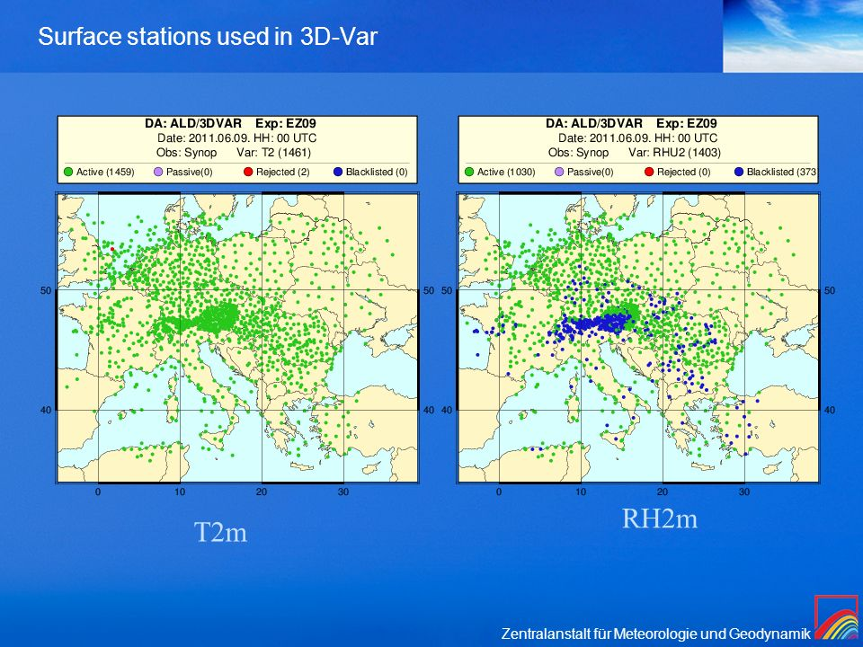 Surface stations used in 3D-Var