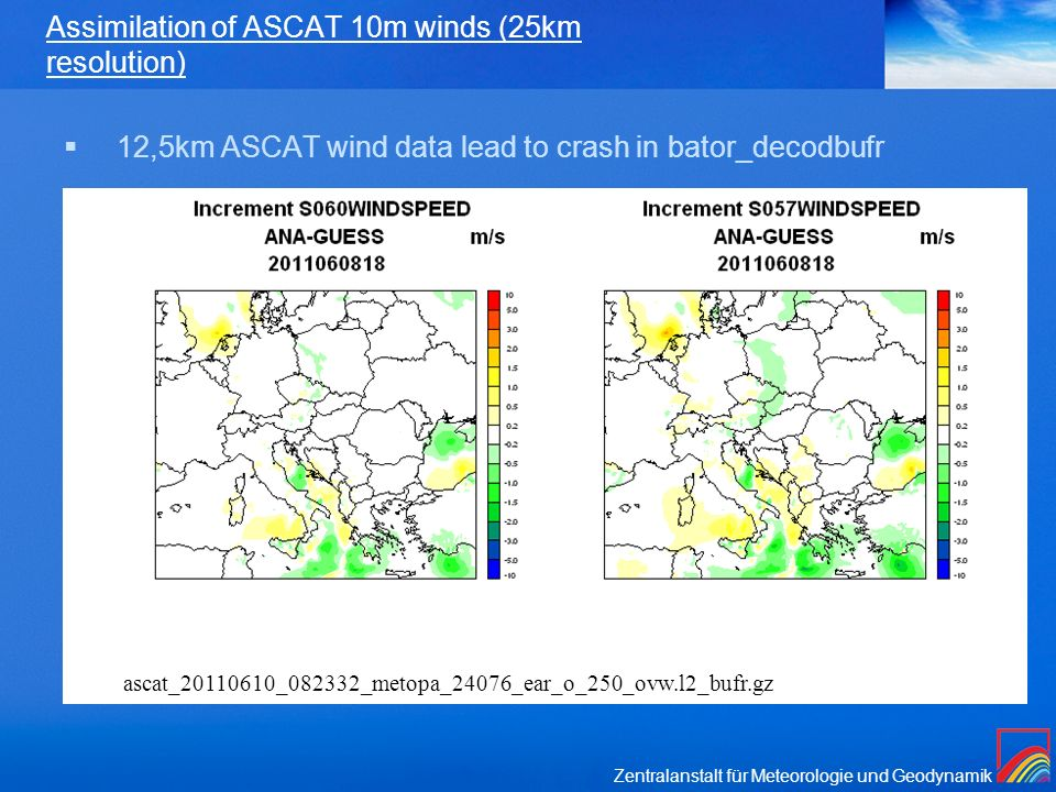 Assimilation of ASCAT 10m winds (25km resolution)