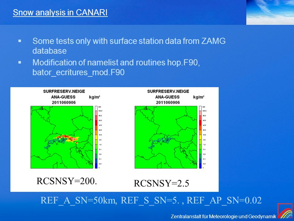 Snow analysis in CANARI