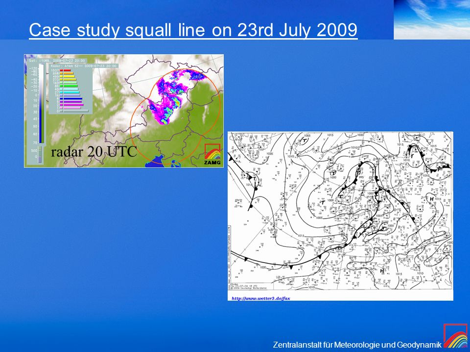 Case study squall line on 23rd July 2009