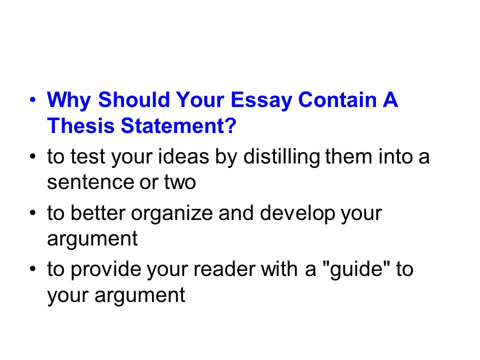 Why Should Your Essay Contain A Thesis Statement