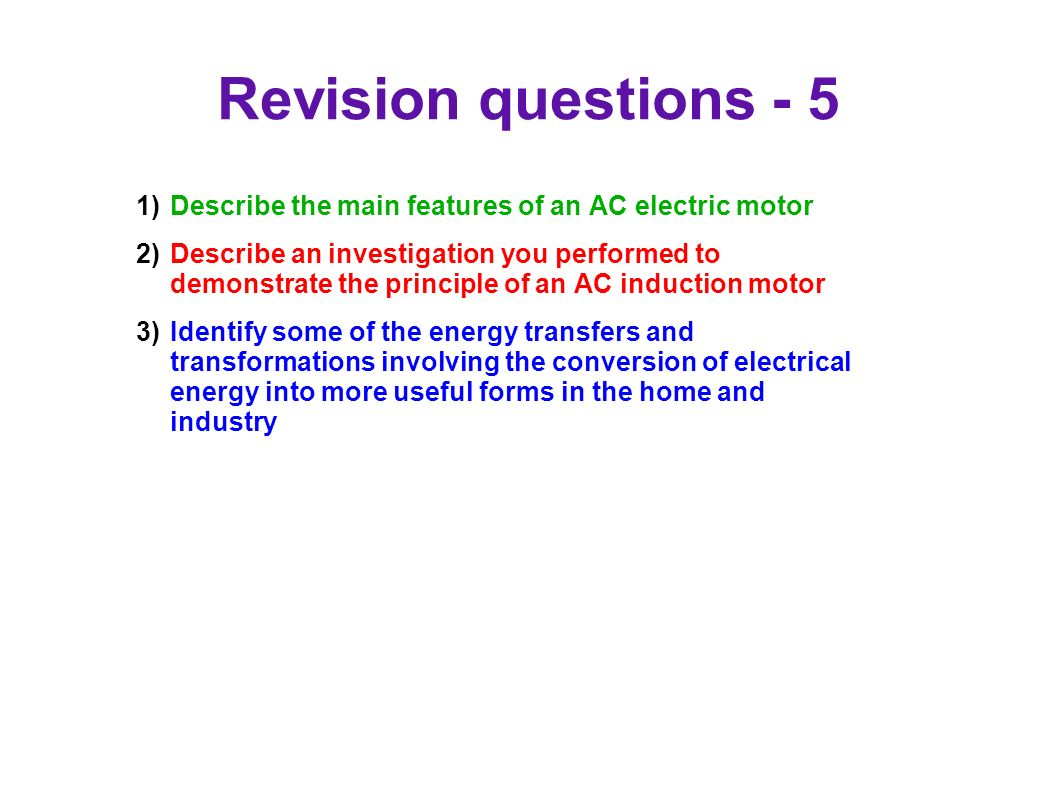 93 Motors And Generators Ppt Download Describes The Basic Concepts Of Direct Current Dc Electrical Circuits Revision Questions 5 Describe Main Features An Ac Electric Motor