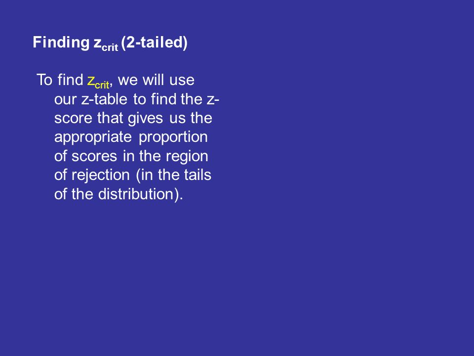 To Find Zcrit We Will Use Our Z Table The Score That Gives Us Appropriate Proportion Of Scores In Region Rejection Tails