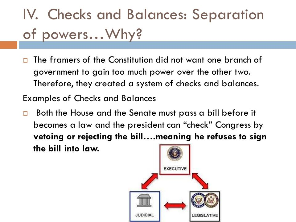 IV. Checks and Balances: Separation of powers…Why