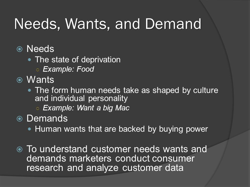 difference between need want and demand with examples