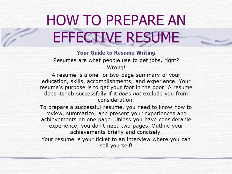 how to prepare an effective resume