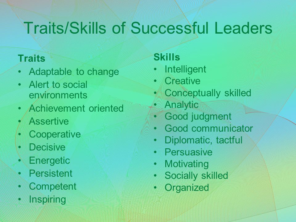 Traits/Skills of Successful Leaders