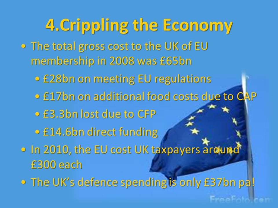 4.Crippling the Economy The total gross cost to the UK of EU membership in 2008 was £65bn. £28bn on meeting EU regulations.