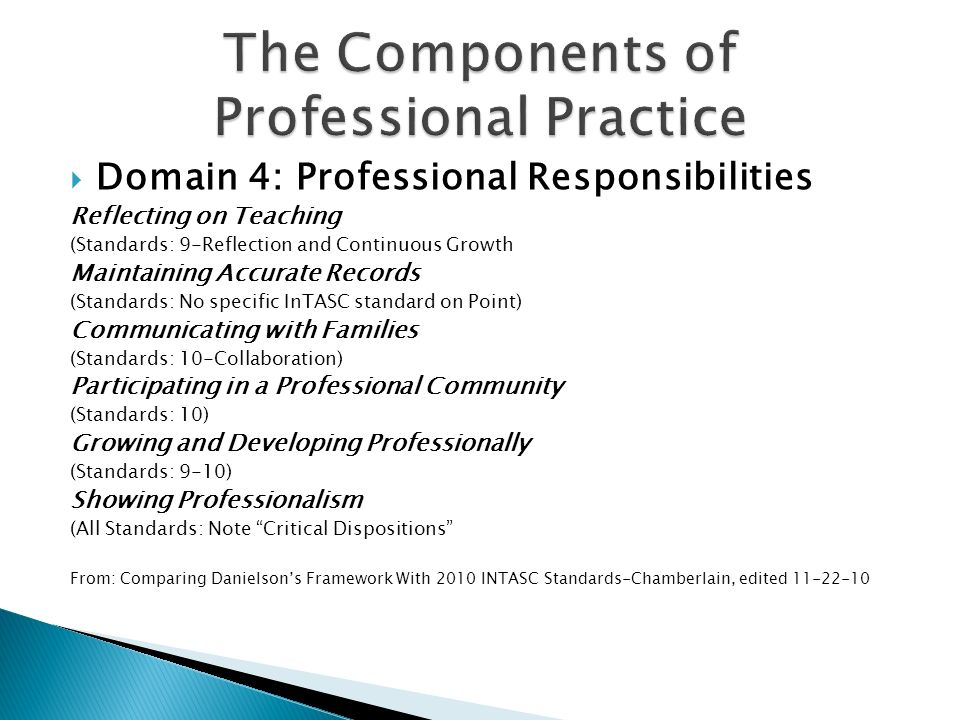 The Components of Professional Practice