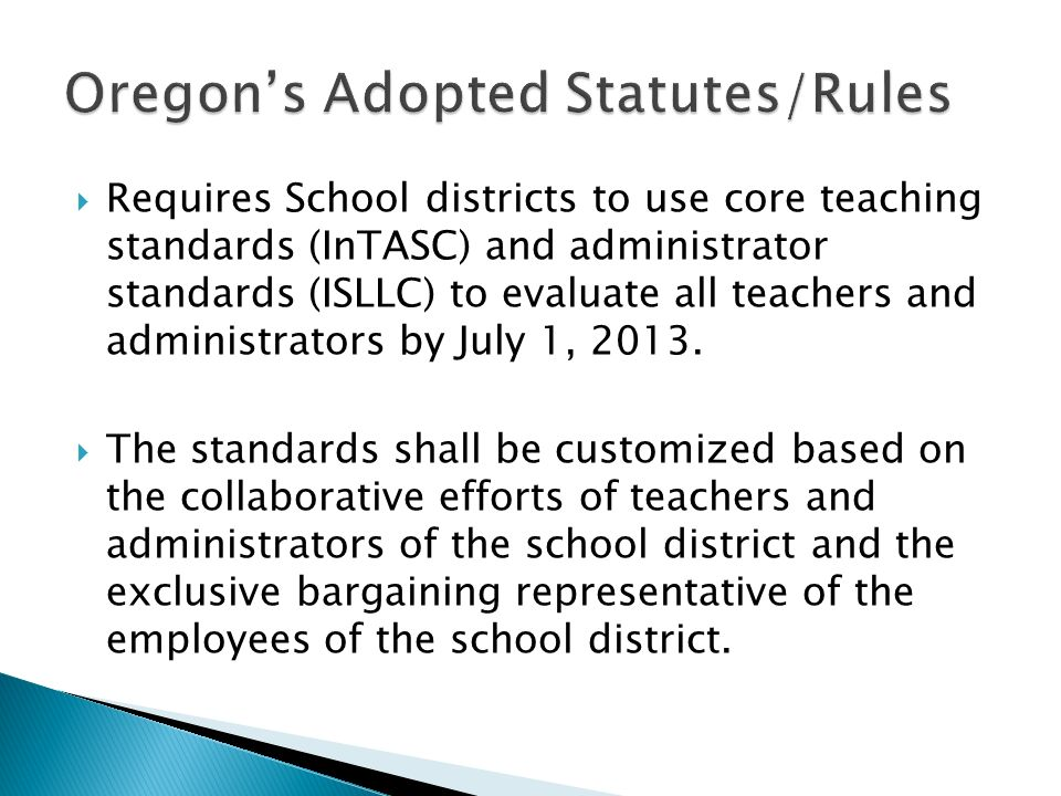 Oregon's Adopted Statutes/Rules