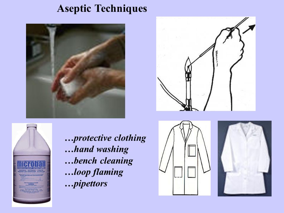 Aseptic Techniques …protective clothing …hand washing …bench cleaning