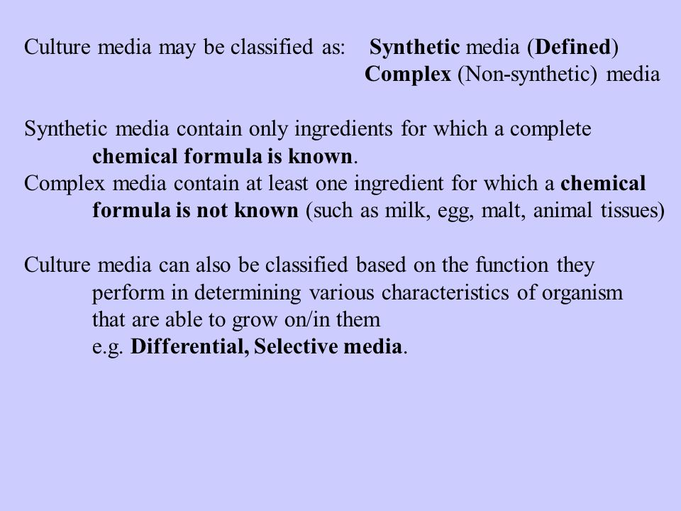 Culture media may be classified as: Synthetic media (Defined)
