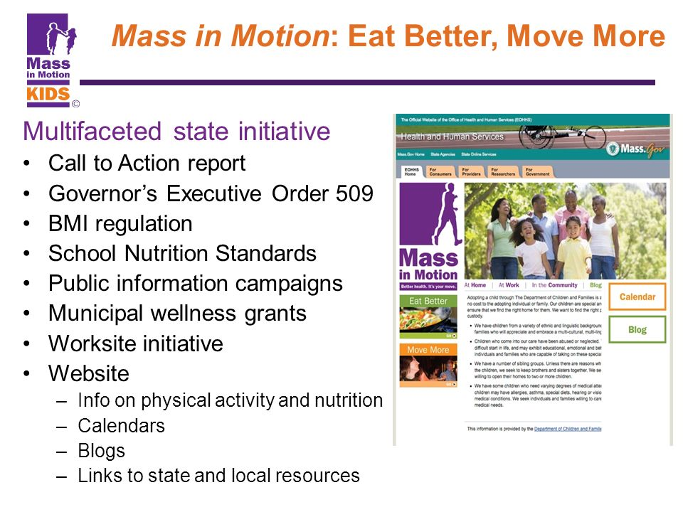 Mass in Motion: Eat Better, Move More