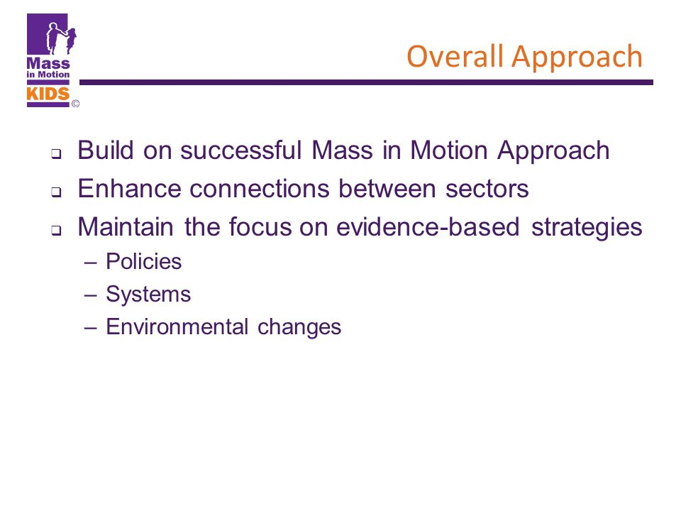 Overall Approach Build on successful Mass in Motion Approach