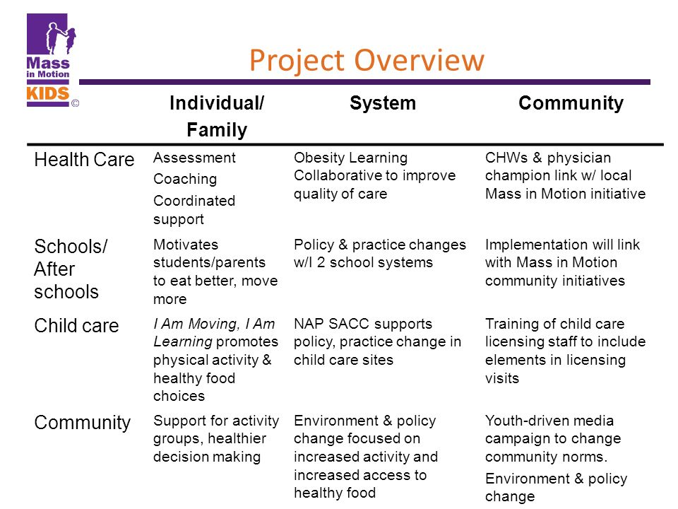 Project Overview Individual/ Family System Community Health Care