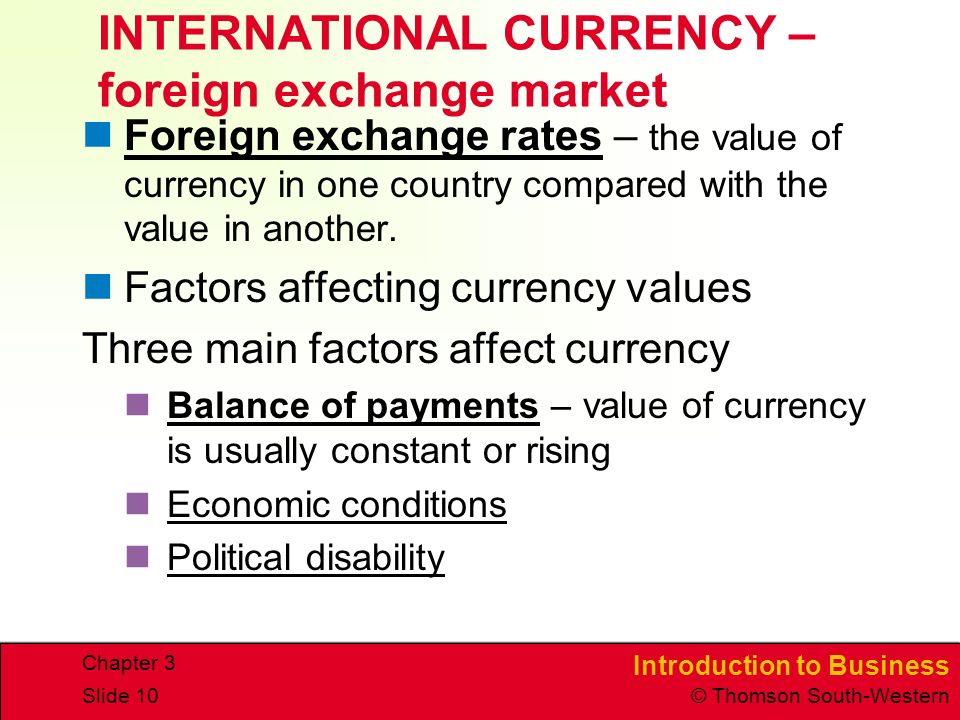 INTERNATIONAL CURRENCY – foreign exchange market