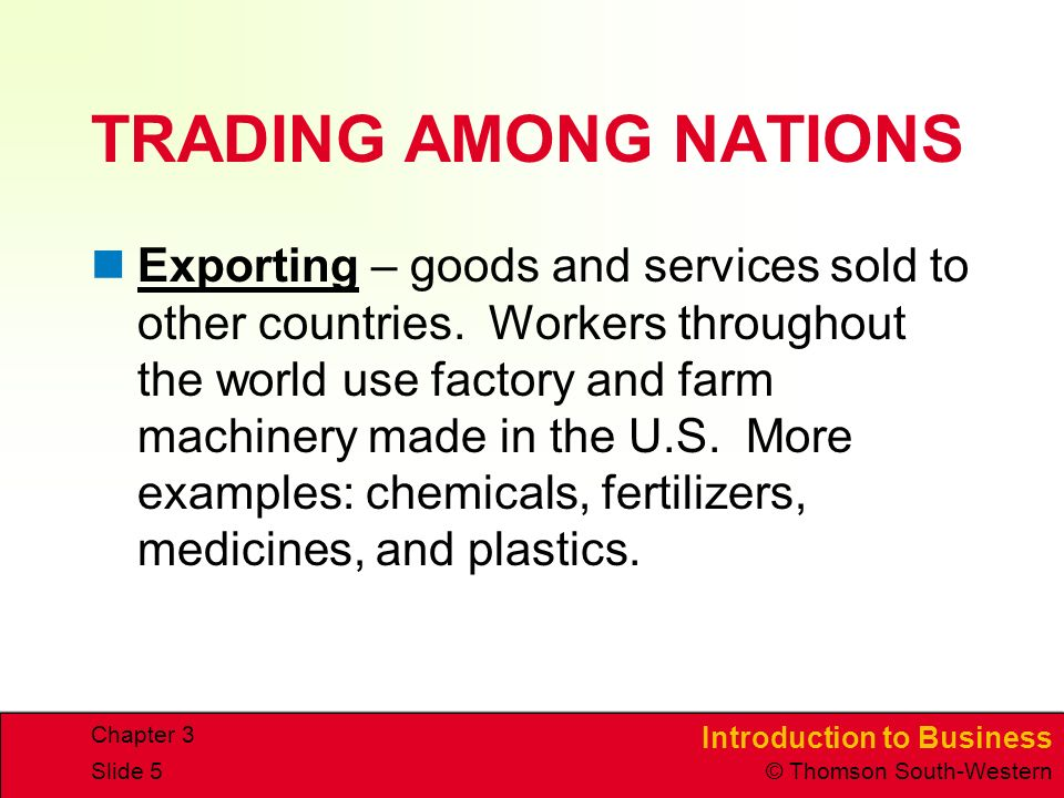TRADING AMONG NATIONS