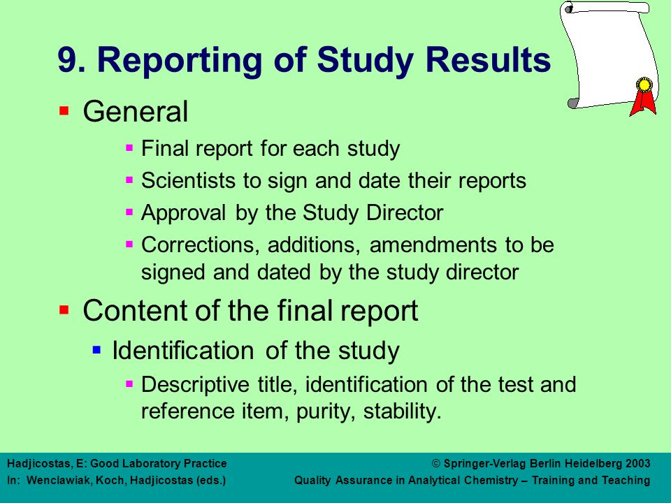 9. Reporting of Study Results