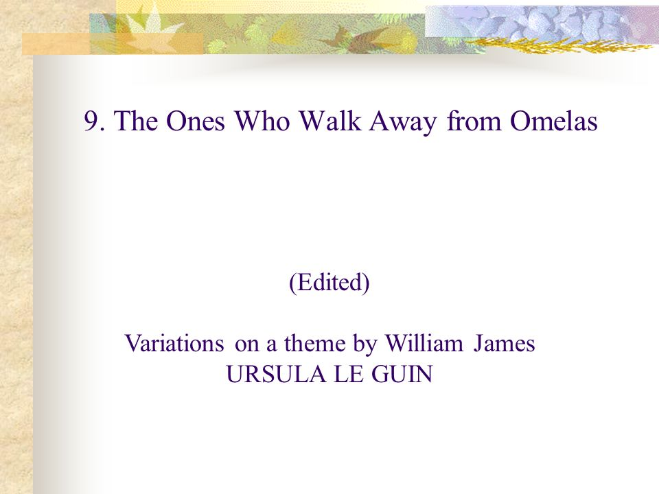 the ones who walk away from omelas literary analysis