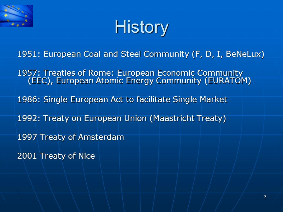 History 1951: European Coal and Steel Community (F, D, I, BeNeLux)