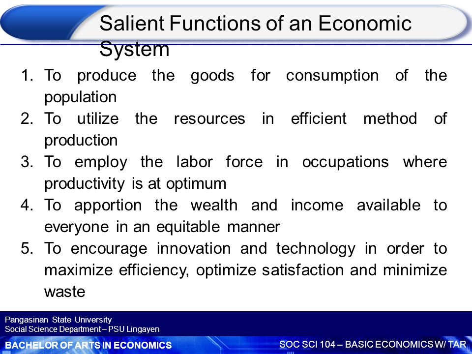 what is the function of an economic system