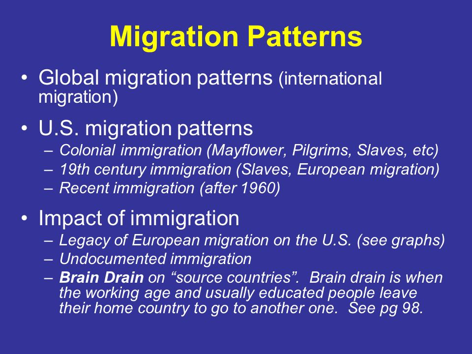 Migration Patterns Global migration patterns (international migration)