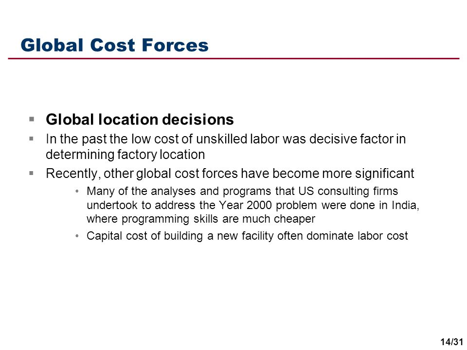Global Cost Forces Global location decisions