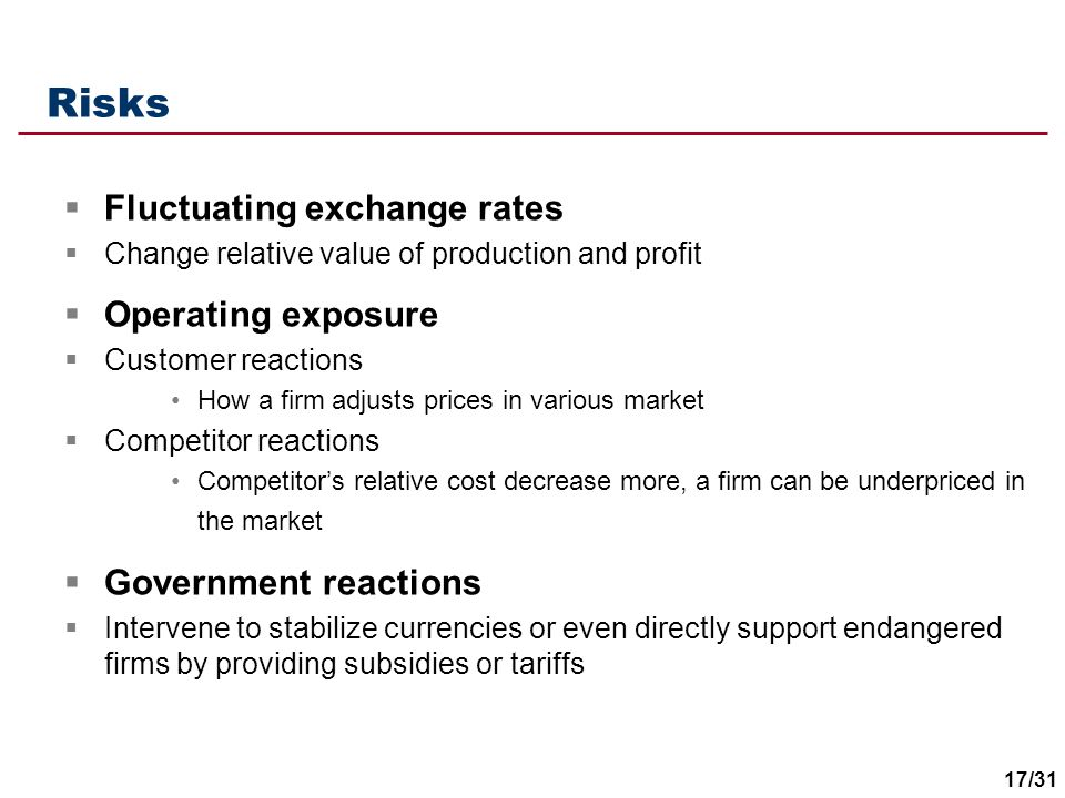 Risks Fluctuating exchange rates Operating exposure