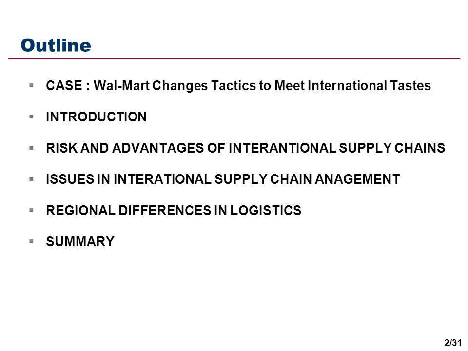 Outline CASE : Wal-Mart Changes Tactics to Meet International Tastes